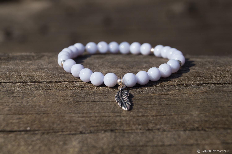 "Bracelet with natural blue agate beads ""Coolness"", Bead bracelet, Pirogovsky,  Фото №1"
