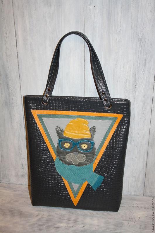 """Женские сумки ручной работы. Ярмарка Мастеров - ручная работа. Купить Женская кожаная сумка """"Кот ученый"""". Handmade. Серый"""