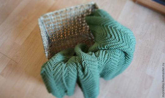 Текстиль, ковры ручной работы. Плед для отдыха Однотонный зеленый. Handmade. Море идей.