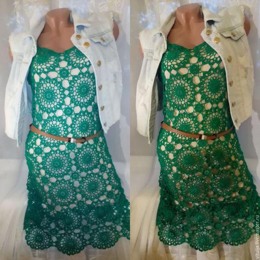"""Платья ручной работы. Ярмарка Мастеров - ручная работа. Купить Платье """"Изумруд"""". Handmade. Зеленый, Вязание крючком, вязаное платье"""