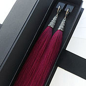 Украшения handmade. Livemaster - original item Burgundy earrings tassel