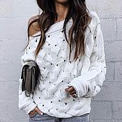 Одежда handmade. Livemaster - original item White sweater one shoulder cotton. Handmade.