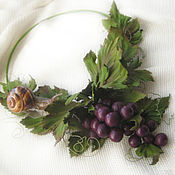 Necklace handmade. Livemaster - original item Decoration leather flowers Necklace leather CLUSTER of GRAPES AND a SNAIL. Handmade.