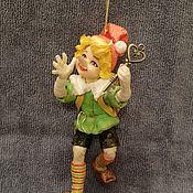 Мягкие игрушки ручной работы. Ярмарка Мастеров - ручная работа Буратино, ватная елочная игрушка. Handmade.