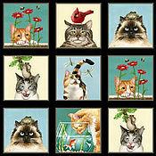 Материалы для творчества ручной работы. Ярмарка Мастеров - ручная работа Любопытные коты лоскут. Handmade.