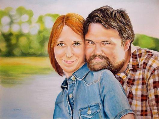 Портрет на заказ в технике `сухая пастель` Портрет - подарок на свадьбу 60х80 см Пастель