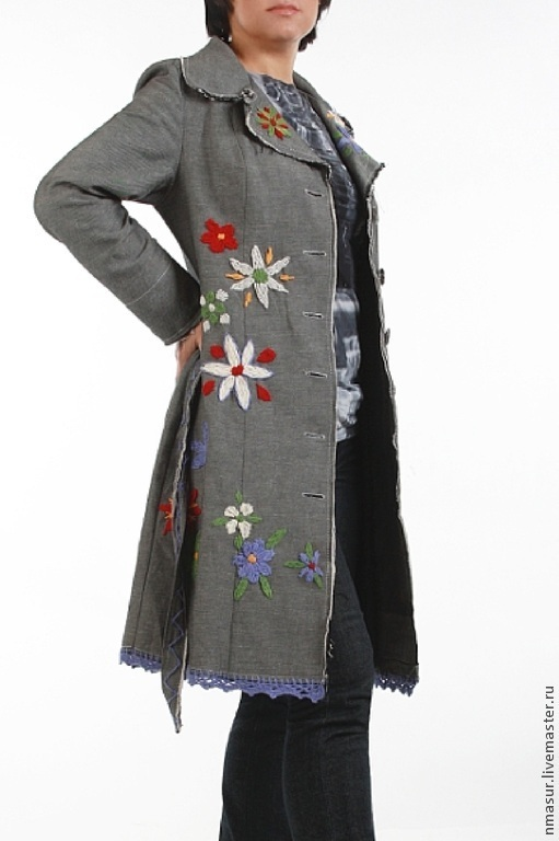 Buy grey denim boho coat with embroidery on livemaster for Outer cloth