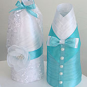 Свадебный салон ручной работы. Ярмарка Мастеров - ручная работа Свадебные бутылки в бирюзовом цвете Жених и невеста (2 чехла). Handmade.