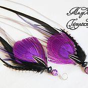 Украшения handmade. Livemaster - original item Purple feather earrings of the peacock and the cock.. Handmade.