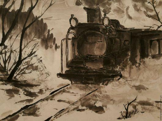 Пейзаж ручной работы. Ярмарка Мастеров - ручная работа. Купить картина на рисовой бумаге Зимний путь. Handmade. Коричневый, туман