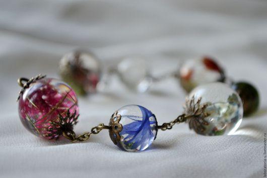 Браслеты ручной работы. Ярмарка Мастеров - ручная работа. Купить Разноцветный браслет с настоящими цветами Прозрачный браслет из шаров. Handmade.