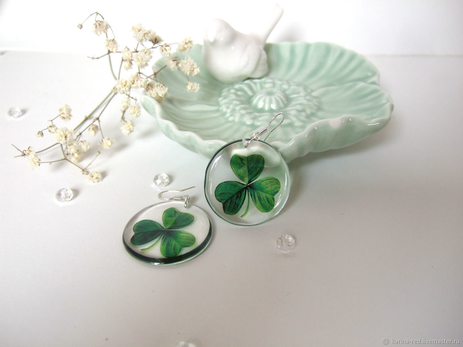 buy transparent earrings made of epoxy resin with leaf clover earrings good luck jewelry clover to purchase of eco earrings boho jewelry shop gifts and decorations