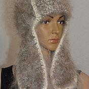 Аксессуары handmade. Livemaster - original item Down a Russian hat Ushanka knitted from 100% goat down Uryupinsk. Handmade.