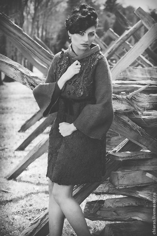 Верхняя одежда ручной работы. Ярмарка Мастеров - ручная работа. Купить авторское пальто из шерсти и шелка. Handmade. Тёмно-фиолетовый