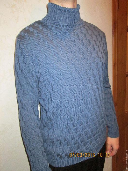 Кофты и свитера ручной работы. Ярмарка Мастеров - ручная работа. Купить Свитер под джинсы. Handmade. Синий, свитер с косами