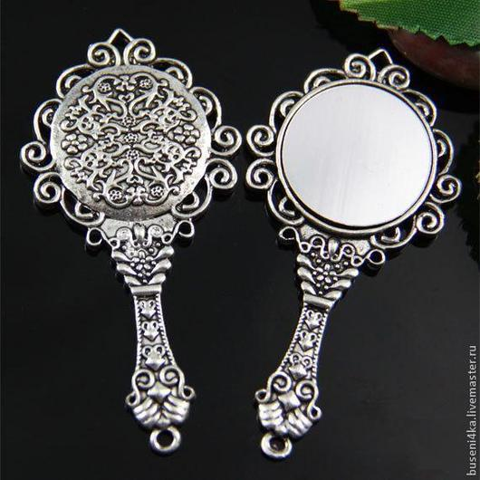 Для украшений ручной работы. Ярмарка Мастеров - ручная работа. Купить Подвеска Зеркало, античное серебро (1шт). Handmade.