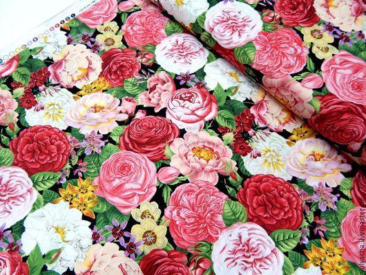 Шитье ручной работы. Ярмарка Мастеров - ручная работа. Купить Американский хлопок. Весна в Париже,розы на черном.. Handmade.