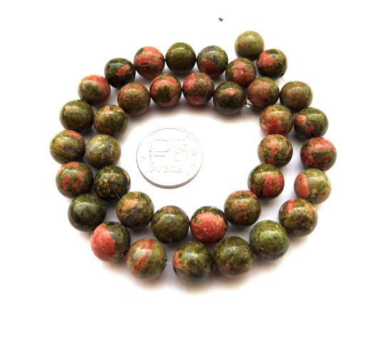 Для украшений ручной работы. Ярмарка Мастеров - ручная работа. Купить Унакит 37 камней набор бусины 10 мм гладкий шар зеленый. Handmade.