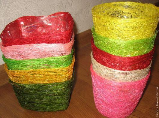 Материалы для флористики ручной работы. Ярмарка Мастеров - ручная работа. Купить Кашпо из сизаля. Handmade. Сизаль, кашпо из сизаля