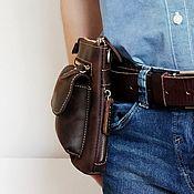 Поясная сумка ручной работы. Ярмарка Мастеров - ручная работа Кожаная поясная сумка Зингер. Handmade.