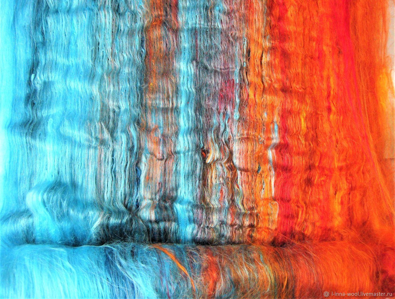 Бирюзовый огонь 82гр вискоза  батт мультиколор смесь, Аппликации вставки отделка, Новосибирск, Фото №1