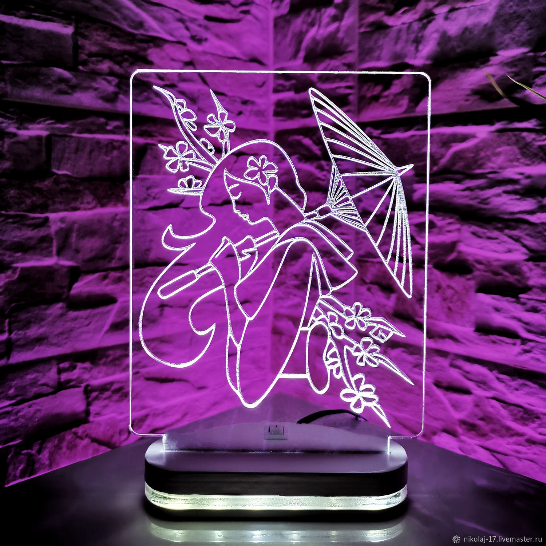 Night light Geisha / Lamp / 3D night light, Fine art photographs, Yaroslavl,  Фото №1