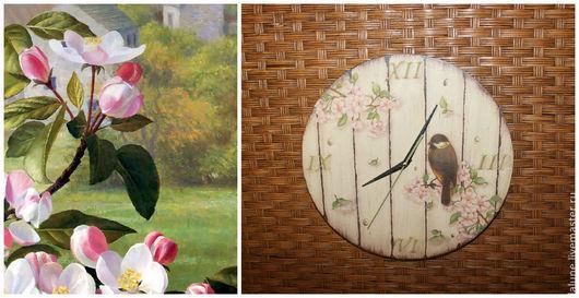 Часы `Весенние трели в яблоневом саду`  by La lune  Рисунок слева потрясающего художника Раймонда Бута из серии `Сад художника`