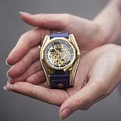 handmade. Livemaster - original item Calabria wrist watch with wide leather strap. Handmade.