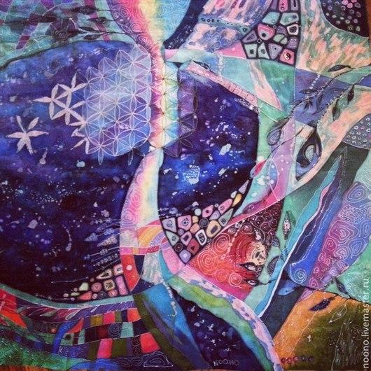 """Шали, палантины ручной работы. Ярмарка Мастеров - ручная работа. Купить Платок """"Космическая Осень"""". Handmade. Космос, Батик, психоделика"""