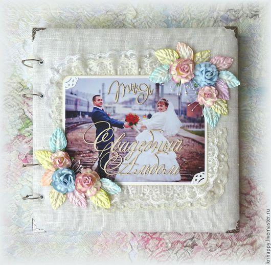 """Свадебные фотоальбомы ручной работы. Ярмарка Мастеров - ручная работа. Купить Свадебный фотоальбом """"Ты и Я"""". Handmade. Белый, нежный"""