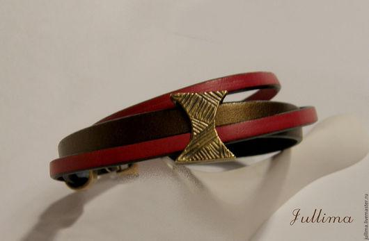 Браслеты ручной работы. Ярмарка Мастеров - ручная работа. Купить Кожаный браслет красный на золотом. Handmade. Ярко-красный