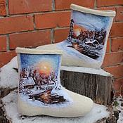 """Обувь ручной работы. Ярмарка Мастеров - ручная работа Валенки мужские """"Зимний вечер"""". Handmade."""