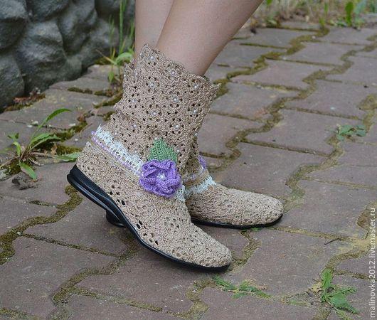 """Обувь ручной работы. Ярмарка Мастеров - ручная работа. Купить Вязаные сапожки """" Нежность"""". Handmade. Бежевый, летние сапожки"""