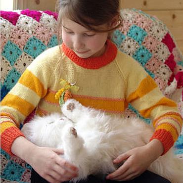 Работы для детей, ручной работы. Ярмарка Мастеров - ручная работа оранжевый вязаный свитер для девочки Маленький апельсин. Handmade.