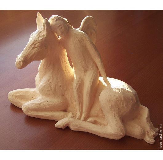 """Статуэтки ручной работы. Ярмарка Мастеров - ручная работа. Купить Статуэтка на заказ """"Ангел и Конь"""" керамическая. Handmade. Глина, скульптура"""