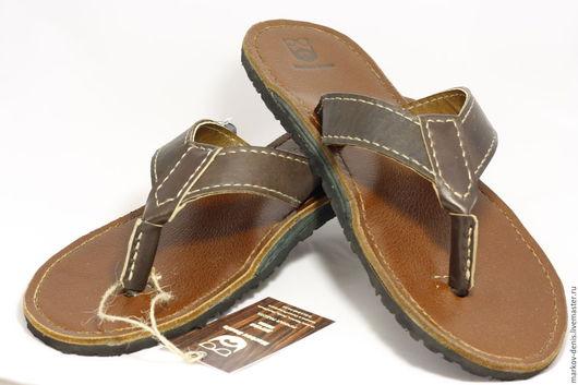 Обувь ручной работы. Ярмарка Мастеров - ручная работа. Купить Кожаные вьетнамки. Handmade. Коричневый, кожа натуральная, марков денис