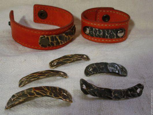 Браслеты ручной работы. Ярмарка Мастеров - ручная работа. Купить кованые пластинки на браслеты. Handmade. Нержавеющая сталь, латунная фурнитура