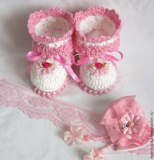 Для новорожденных, ручной работы. Ярмарка Мастеров - ручная работа. Купить Туфельки для маленькой принцессы 2. Handmade. Белый