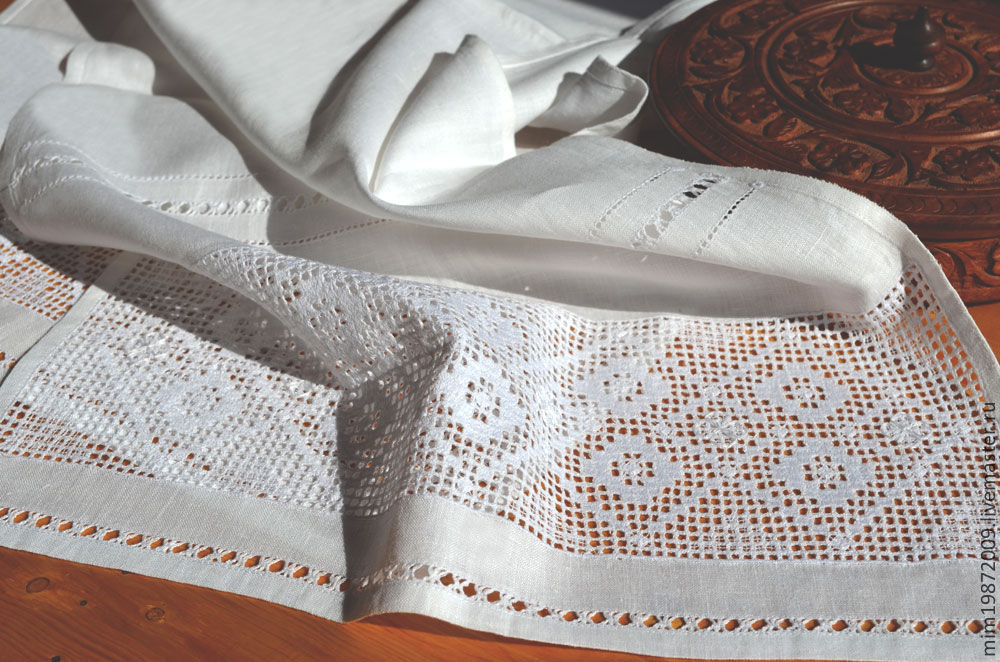 linen towel, white, embroidered white on white, the track on the table with openwork, strojeva embroidery, beautiful towel, marine Mediterranean style, Russian style