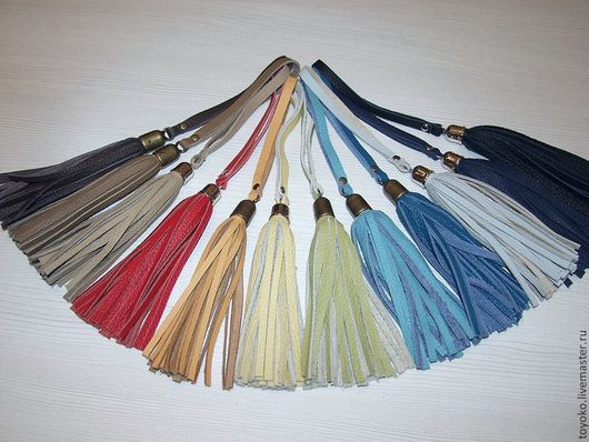 Украшения для сумок ручной работы. Ярмарка Мастеров - ручная работа. Купить Кожаные кисточки, украшение для сумок.. Handmade. Однотонный