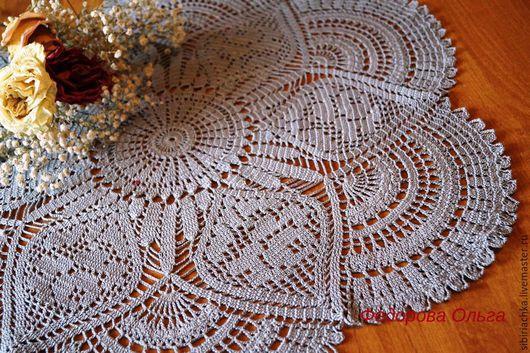 """Текстиль, ковры ручной работы. Ярмарка Мастеров - ручная работа. Купить Салфетка """"Розы"""". Handmade. Серый, салфетка с цветами"""