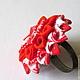 Кольца ручной работы. Ярмарка Мастеров - ручная работа. Купить Кольцо Красный георгин. Handmade. Ярко-красный, украшение