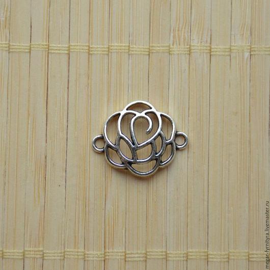 Для украшений ручной работы. Ярмарка Мастеров - ручная работа. Купить Коннектор Цветок объёмный 24х19х4 мм. Handmade. Серебряный