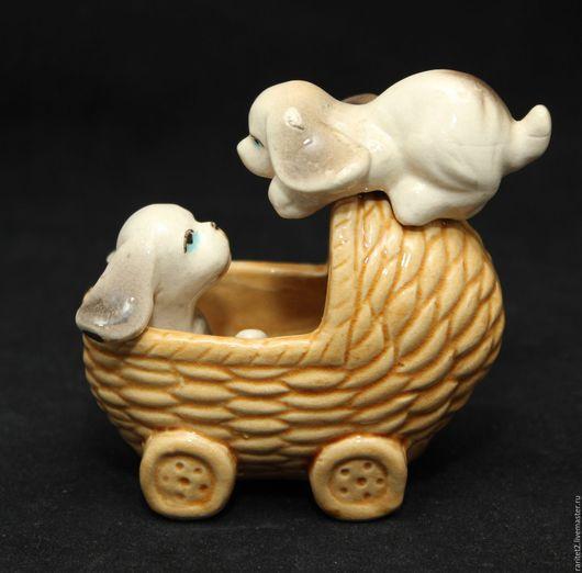 Винтажные предметы интерьера. Ярмарка Мастеров - ручная работа. Купить Собака щенок коляска тележка Англия. Handmade. Разноцветный, раритет
