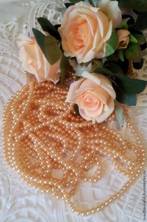 Для украшений ручной работы. Ярмарка Мастеров - ручная работа. Купить Бусины (6 мм) (персиковый). Handmade. Белый