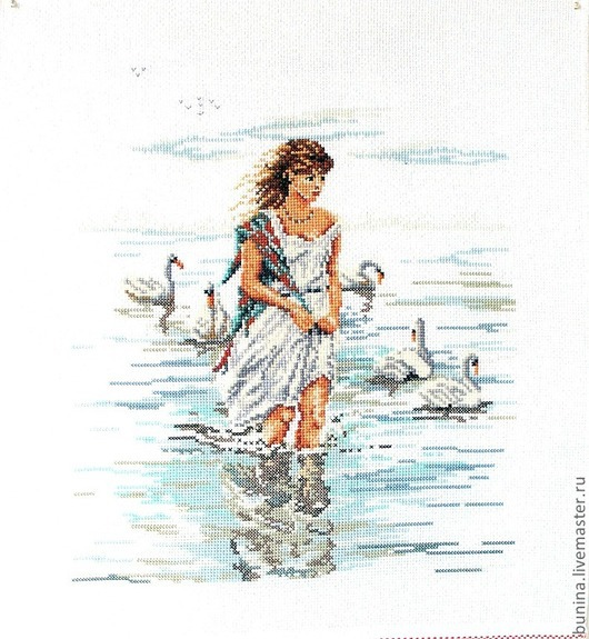 Люди, ручной работы. Ярмарка Мастеров - ручная работа. Купить Белые лебеди и девушка. Handmade. Голубой, девушка, белый
