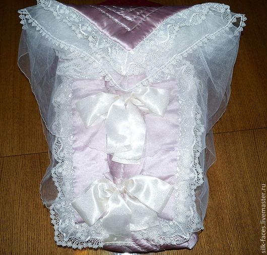Для новорожденных, ручной работы. Ярмарка Мастеров - ручная работа. Купить Конверт-пододеяльник для новорожденной. Handmade. Комплект на выписку, новорожденному