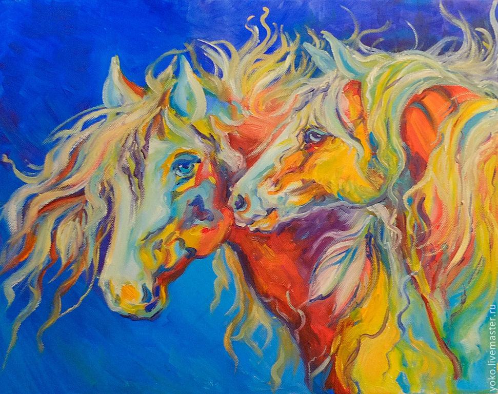 'Indian Night' pattern with horses, (oil on canvas), Pictures, Voronezh,  Фото №1