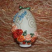 """Сувениры и подарки ручной работы. Ярмарка Мастеров - ручная работа Яйцо. Вышивка лентами """"Оранжевое солнце"""". Handmade."""