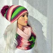 Аксессуары handmade. Livemaster - original item Set knitted women`s double hat Snood